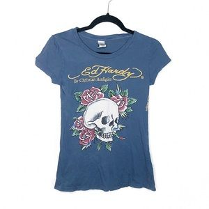 Ed Hardy Soft Blue-Green Graphic T-shirt